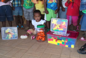 Toys, puzzles and balls donated by an overseas visitor to Emseni & Sigalakale schools